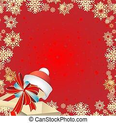 boîte, flocons neige, cadeau, fête, claus, arc, santa, year., arrière-plan rouge, nouveau, chapeau, noël carte