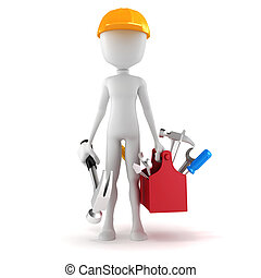 boîte, fond, blanc, 3d, outils, homme