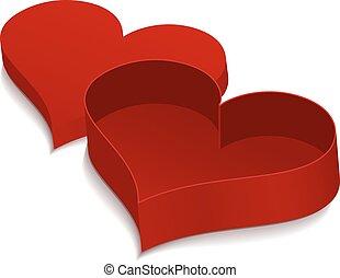 boîte, forme, heart., rouges