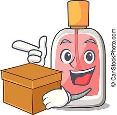boîte, forme, parfum, botlle, dessin animé