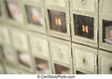 boîte, foyer peu profond, nous, profondeur, courrier