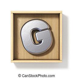 boîte, g, bois, métal, lettre, argent, 3d