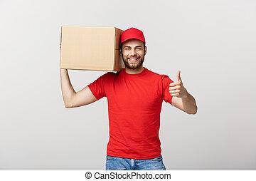 boîte, gai, sien, pouce haut, projection, gris, contre, jeune, livraison, quoique, fond, tenue, position homme, carton, beau