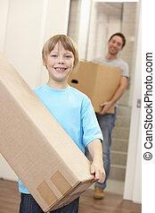 boîte, garçon, jeune, porter, en mouvement, carton, jour, homme