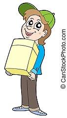 boîte, garçon, papier