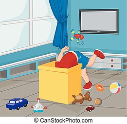 boîte, garçon, peu, dessin animé, jouets