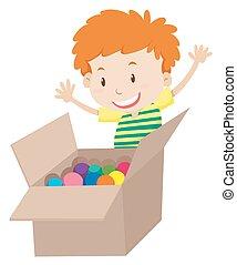 boîte, garçon, peu, entiers, balles