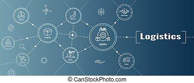 boîte, gens, bannière, logistique, bâtiments, ensemble, toile, icône, camionnage, en-tête, expédition