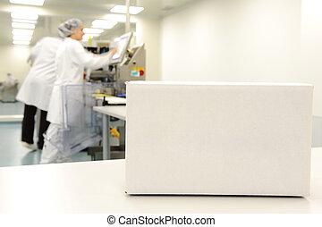 boîte, gens fonctionnement, moderne, ligne, production, fond, automatisé, usine, blanc