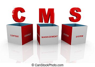 boîte, gestion, -, système, contenu, cms, 3d
