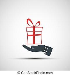boîte, gift., tenant main