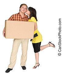 boîte, girl, baisers, type, tenue