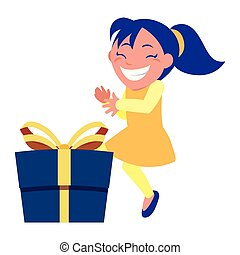 boîte, girl, célébration, cadeau, heureux