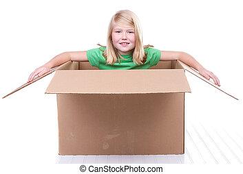 boîte, girl, carton