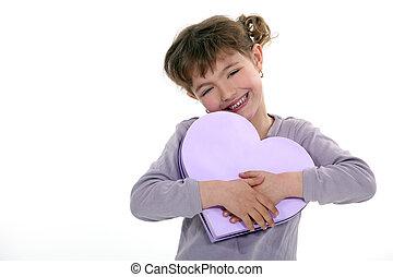 boîte, girl, forme coeur, tenue