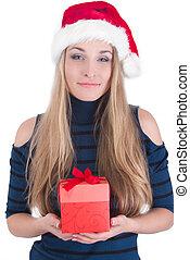 boîte, girl, jeune, cadeau, heureux
