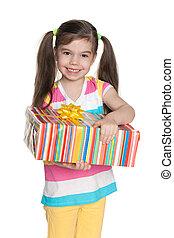 boîte, girl, peu, sourire, cadeau