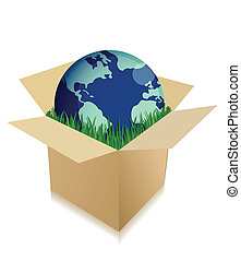 boîte, globe, herbe, expédition