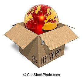 boîte, globe terre, carton