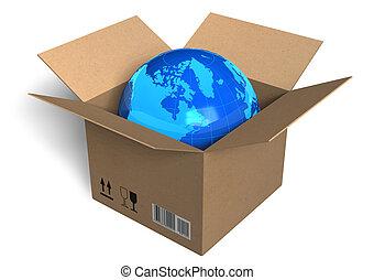 boîte, globe terre