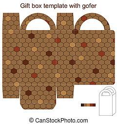 boîte, gofer, cadeau, gabarit