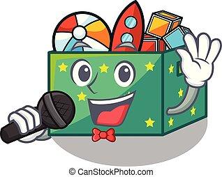 boîte, gosses, chant, dessin animé, jouets