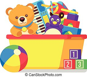boîte, gosses, vecteur, clipart, jouets