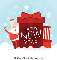 boîte, grand, claus, salutation, présent, santa, année, nouveau, vacances, noël carte, heureux
