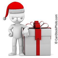 boîte, grand présent, santa, 3d