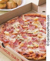 boîte, hawaien, loin, ail, prendre, pizza, pain