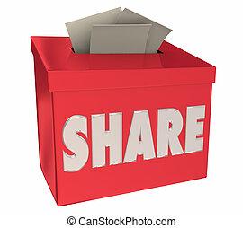 boîte, histoire, réaction, part, illustration, comments, suggestion, ton, 3d