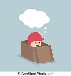 boîte, homme affaires, dehors, penser