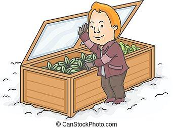boîte, homme, jardin hiver