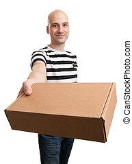 boîte, homme, jeune, carte, tenue