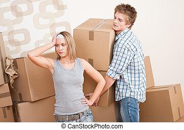 boîte, house:, femme, déplacer homme