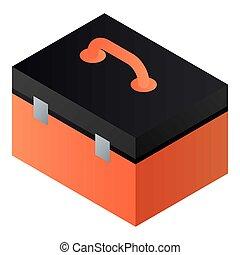 boîte, icône, outillage, isométrique, style