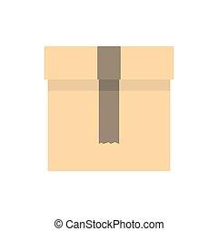 boîte, icône, plat, style