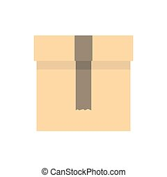 boîte, icône, style, plat