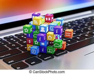 boîte, icônes concept, ordinateur portatif, clavier, logiciel