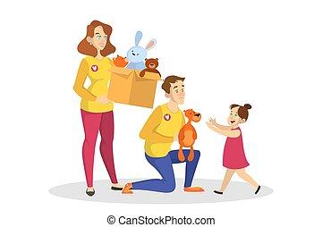boîte, idée, tenue, jouets, children., volontaire, charité