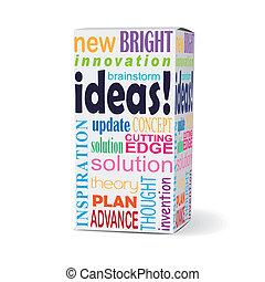boîte, idées, mot, produit