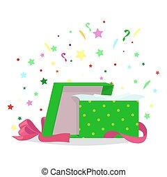 boîte, illustration., cadeau, collection, vacances, ouvert