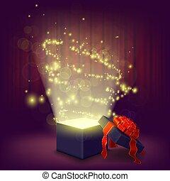 boîte, illustration., cadeau, intérieur., incandescent, vecteur, ouvert