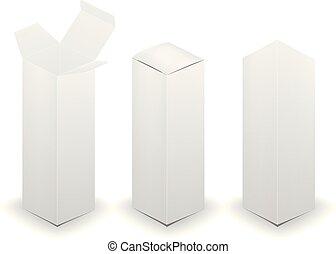 boîte, illustration., isolé, arrière-plan., vecteur, vide, blanc