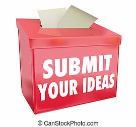 boîte, illustration, propositions, idées, soumettre, envoyer, suggestion, ton, 3d