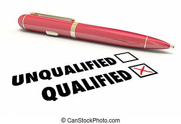 boîte, illustration, stylo, qualifié, qualification, chèque, 3d