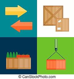 boîte, illustration., vecteur, exportation, fruits, importation
