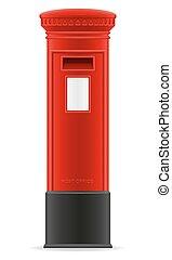 boîte, illustration, vecteur, londres, courrier, rouges