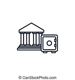 boîte, image, argent, ligne, sûr, banque