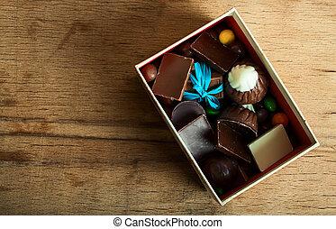 boîte, image, -, bonbon, chocolat, bois, bureau